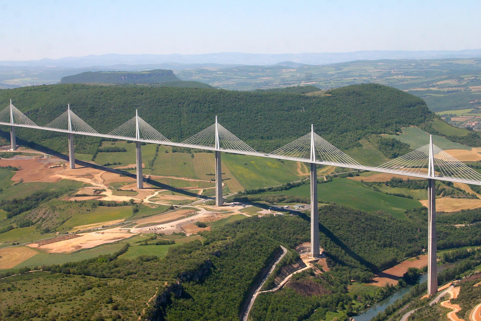 millau bridge Millau viaduct, the highest cable-stayed bridge-road in the world, a feat of engineering created by the engineer m virlogeux and the architect n foster.